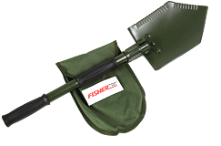 Fisher Folding Shovel & Pick with Logo Carry Pouch