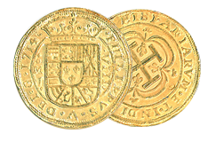 Kellyco Spanish 8 Escudos Gold Royal Doubloon Coin Replica
