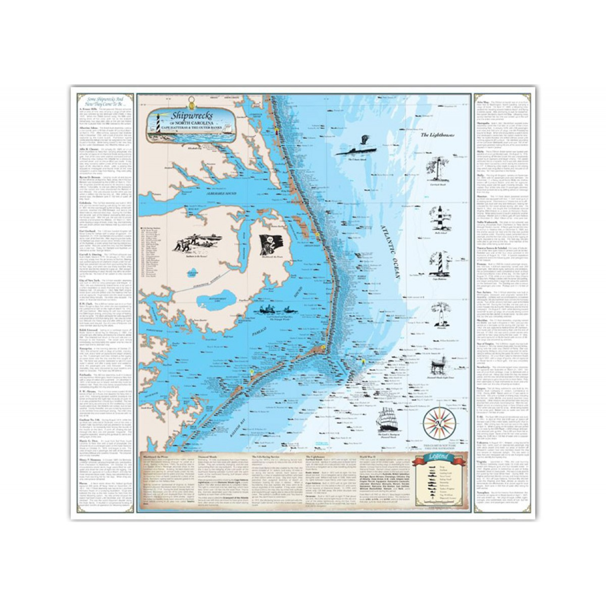 Nc Shipwreck Chart Paper Cape Hatteras Outer Banks 1001 Image 1