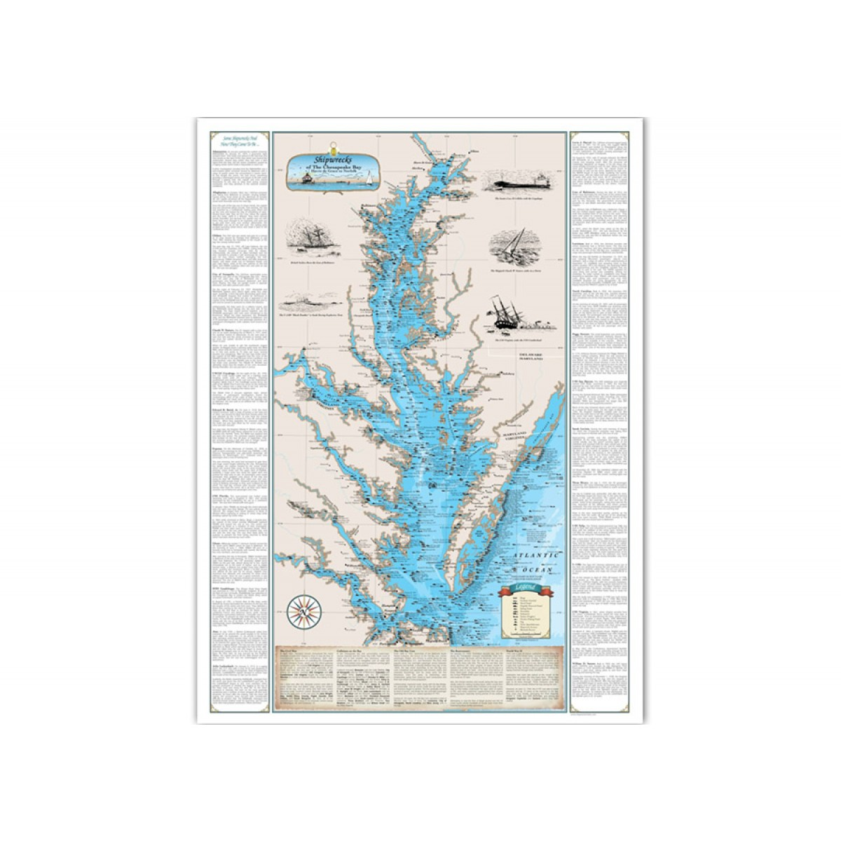Chesapeake Bay On Map Of Usa.Shipwrecks Of Chesapeake Bay Map Havre De Grace Norfolk Kellyco