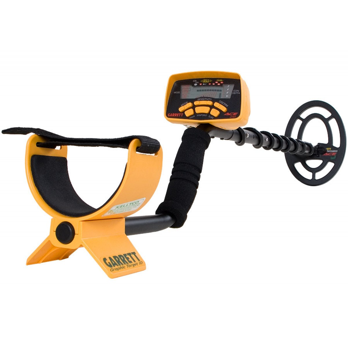 Garrett ace 250 metal detector with 6 5x9 coil on popscreen.