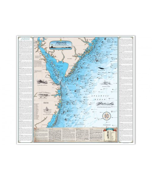 Mid Atlantic Shipwreck Chart - Paper (DE, MD and Southern NJ) 1029 Image 1