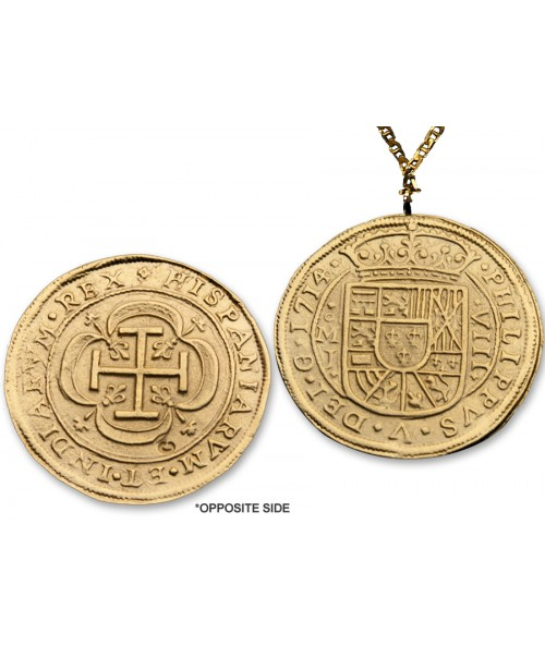 "Spanish 8 Escudos Gold Royal Doubloon Coin Replica with 24"" Chain 01N24 Image 1"