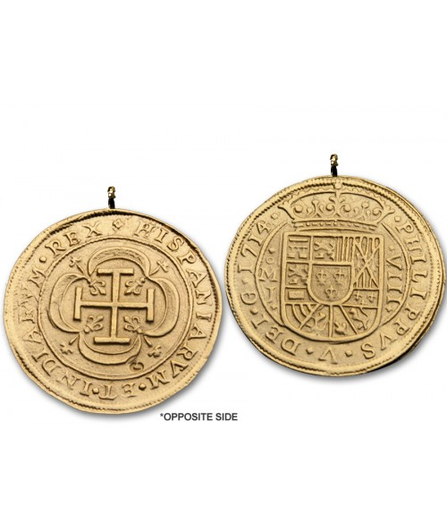 Kellyco Spanish 8 Escudos Gold Royal Doubloon Coin Replica 01-N Image 1